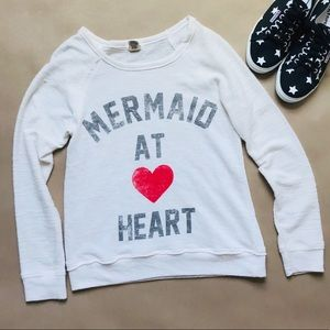 Juniors Mermaid at Heart Crew Neck Light Top